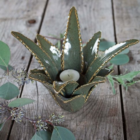 Aloe Vera Ceramic Candle Holder