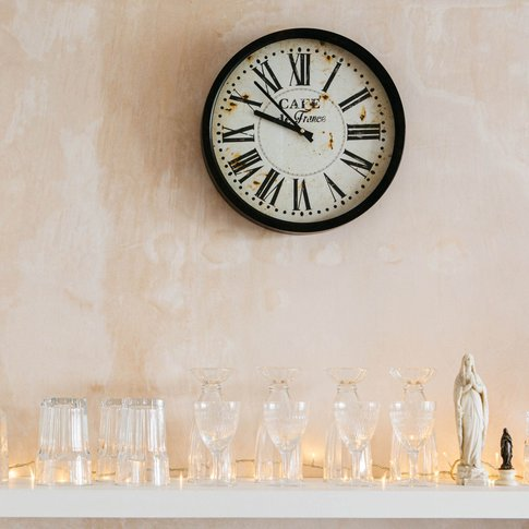 Distressed Cafe Wall Clock