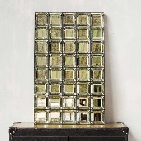 Antiqued Squares Mirror