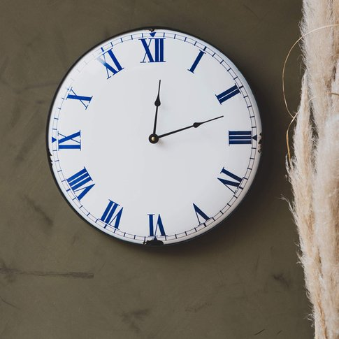 Distressed Blue And White Clock