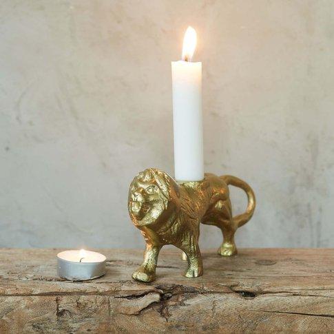 Aslan Lion Brass Candle Holder