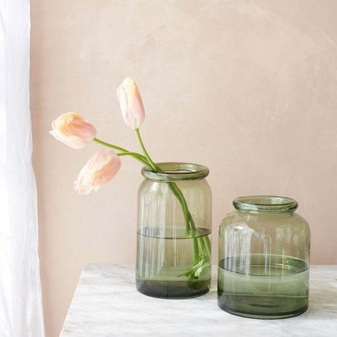 Large Green Bottle Lip Vase