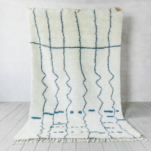 Blue Linear Berber Rug