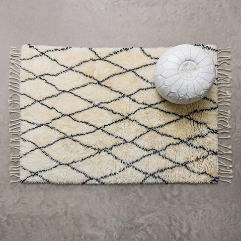 Medium Black And Ivory Berber Rug