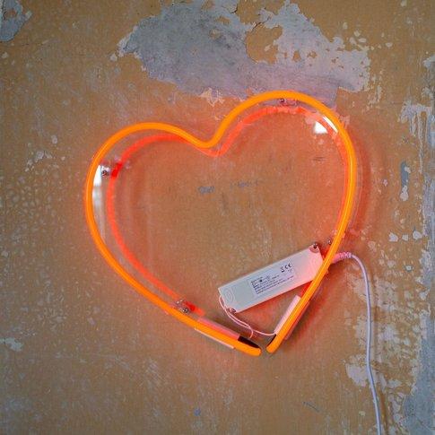 Red Neon Heart Wall Light
