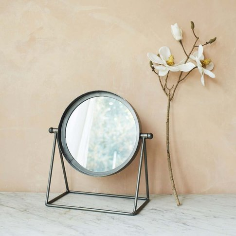 Round Industrial Table Mirror