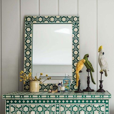 Large Jade Green Floral Bone Inlay Mirror