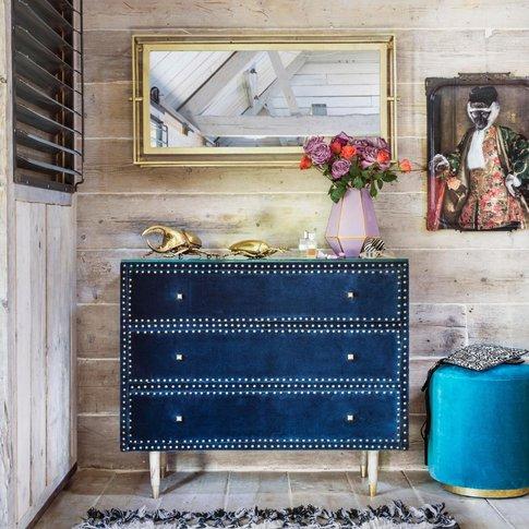 Eleonora Sapphire Blue Velvet Chest Of Drawers