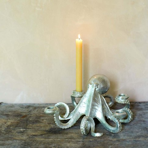 Silver Octopus Candlestick Holder