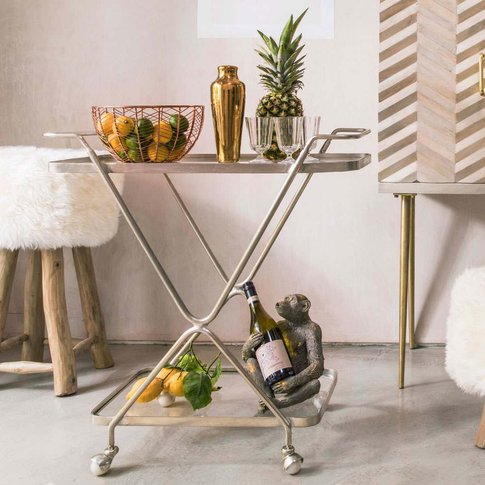 Silver Hourglass Drinks Trolley
