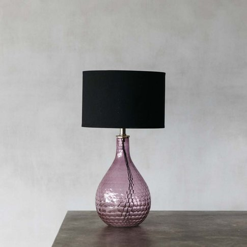 Hammered Glass Pink Table Lamp