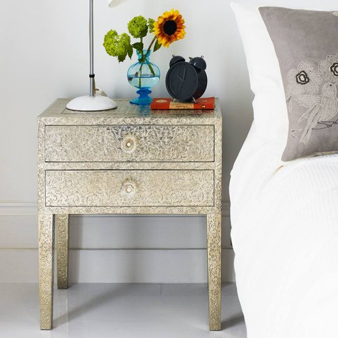 Embossed White Metal Bedside Table