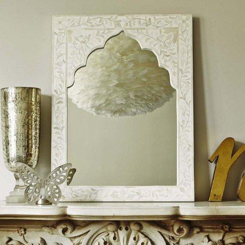 Mandir White Bone Inlay Mirror