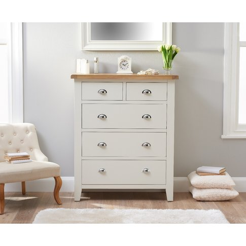 Ellen Oak And White Large 2 Over 3 Chest Of Drawers