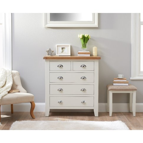 Ellen Oak and White 2 Over 3 Chest of Drawers