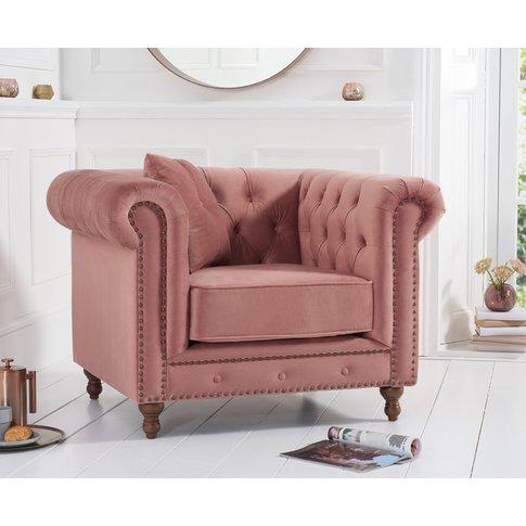 Milano Chesterfield Blush Plush Armchair