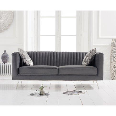 Darbie Grey Velvet 2 Seater Sofa
