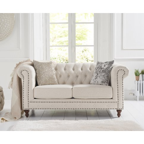 Milano Chesterfield Ivory Linen 2 Seater Sofa
