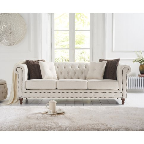 Milano Chesterfield Ivory Linen 3 Seater Sofa