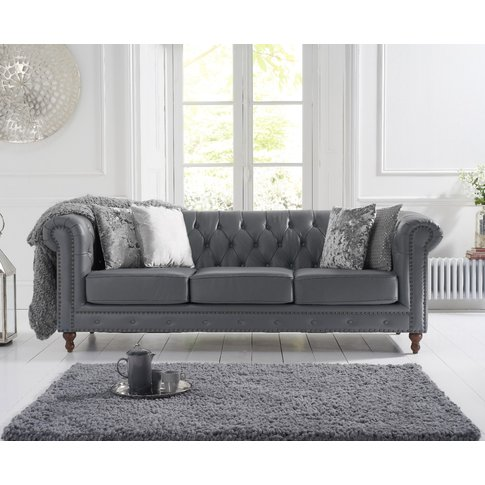 Milano Chesterfield Grey Leather 3 Seater Sofa