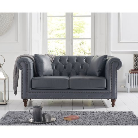 Milano Chesterfield Grey Leather 2 Seater Sofa