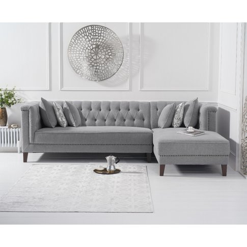 Tammie Grey Linen Right Facing Chaise Sofa