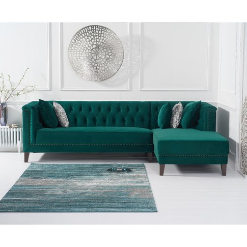 Tammie Green Velvet Right Facing Chaise Sofa