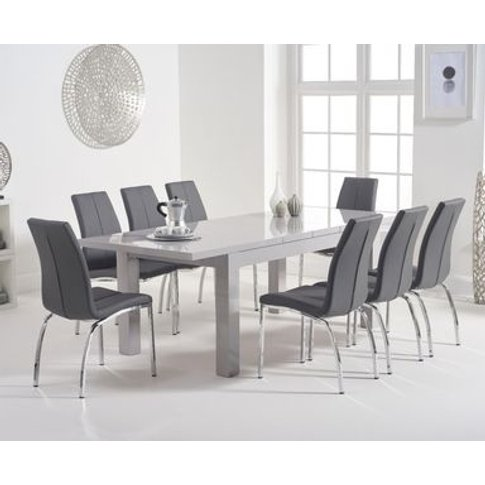 Atlanta 160cm Light Grey High Gloss Extending Dining Table With Cavello Chairs