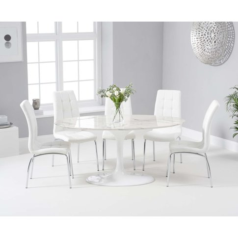 Bryce 160cm White Oval Marble Dining Table With Calgary Chairs