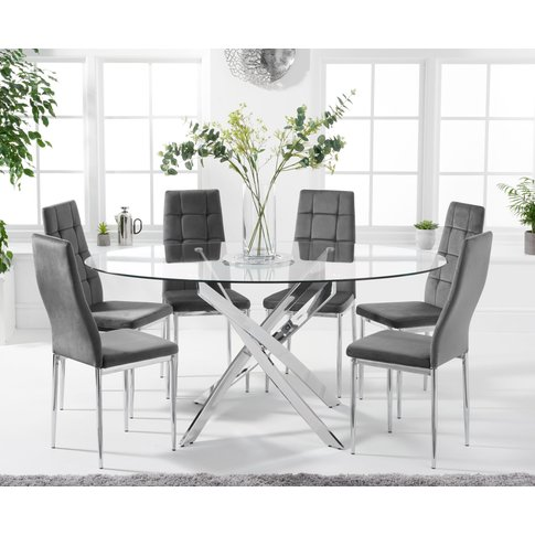 Denver 165cm Oval Glass Dining Table With Melissa Ch...