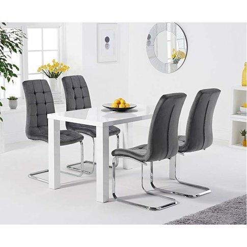 Atlanta 120cm White High Gloss Dining Table With Lor...