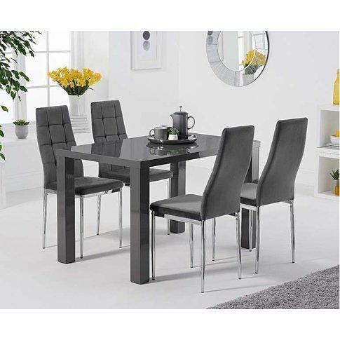 Atlanta 120cm Dark Grey High Gloss Dining Table With...