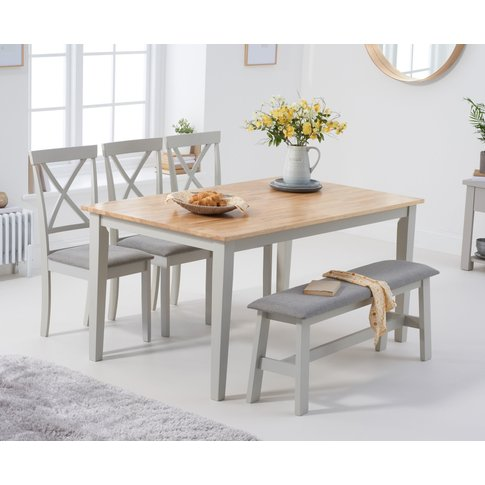 Chiltern 150cm Oak And Grey Table With 2 Epsom Chair...