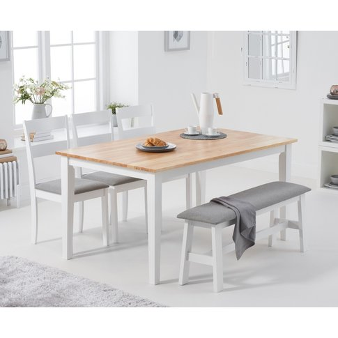 Chiltern 150cm Oak And White Table With Chiltern Chairs With Grey Fabric Seats And Bench