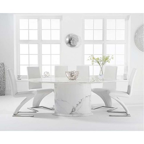Coloseum 200cm Oval White Marble Dining Table With Hampstead Chairs