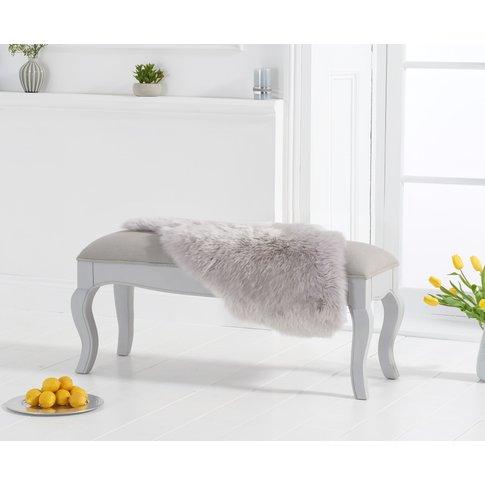 Parisian Grey Shabby Chic Bench With Grey Padded Seat
