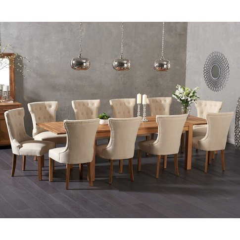 Verona 150cm Extending Solid Oak Dining Table With C...