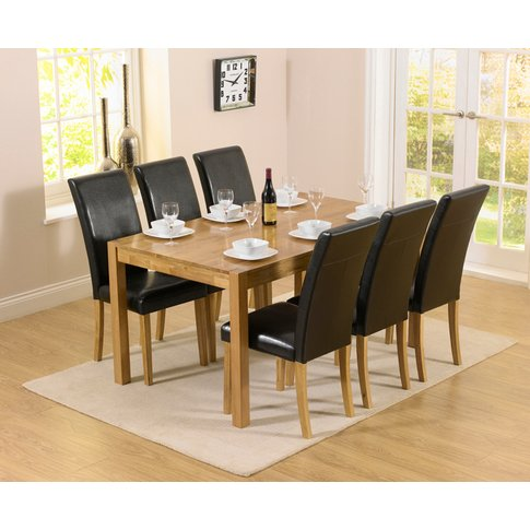 Oxford 150cm Solid Oak Dining Table With Albany Blac...