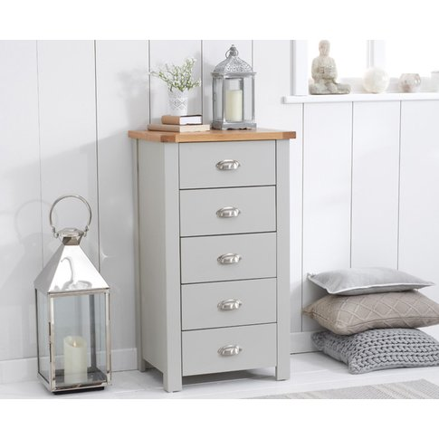 Somerset Oak And Grey 5 Drawer Chest