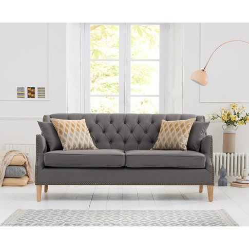 Charlotte Chesterfield Grey Fabric 3 Seater Sofa
