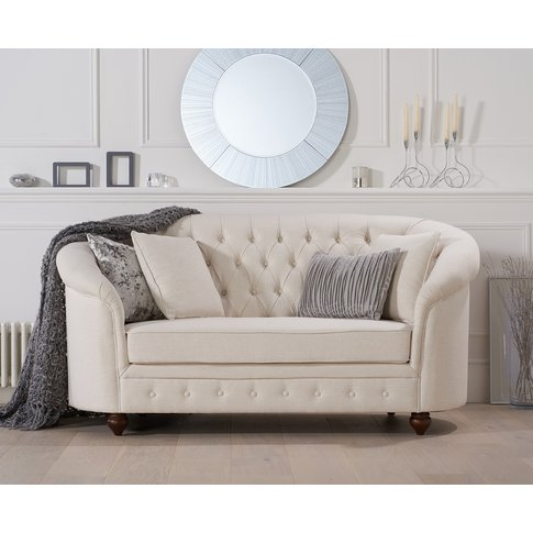 Cara Chesterfield Ivory Linen Fabric Two-Seater Sofa