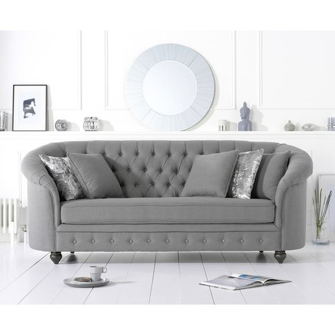 Cara Chesterfield Grey Linen Fabric Three-Seater Sofa