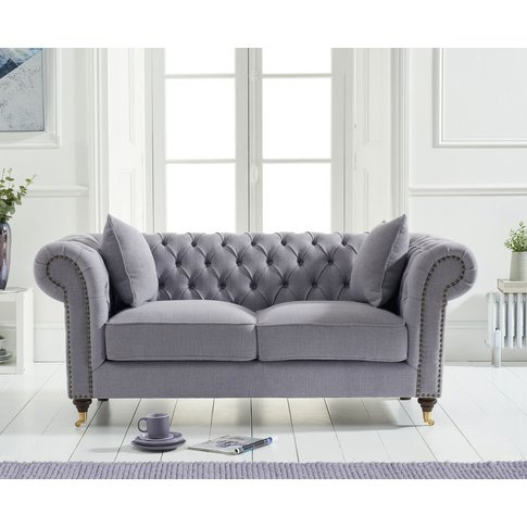 Cameo Chesterfield Grey Linen 2 Seater Sofa