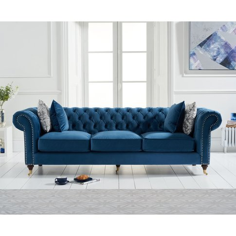 Cameo Chesterfield Blue Velvet 3 Seater Sofa