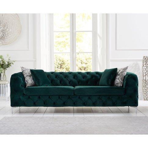 Ariel Green Plush 3 Seater Sofa