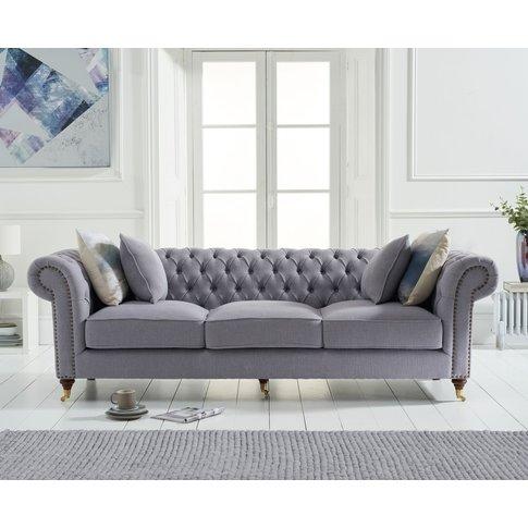 Cameo Chesterfield Grey Linen 3 Seater Sofa