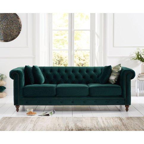 Milano Chesterfield Green Plush 3 Seater Sofa