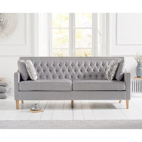 Chatsworth Chesterfield Grey Plush 3 Seater Sofa