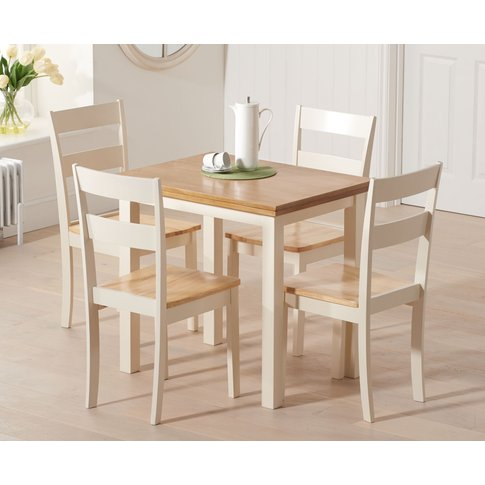 Hastings 60cm Oak And Cream Extending Dining Table W...
