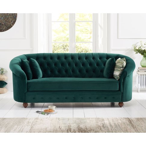 Cara Chesterfield Green Plush Fabric Three-Seater Sofa